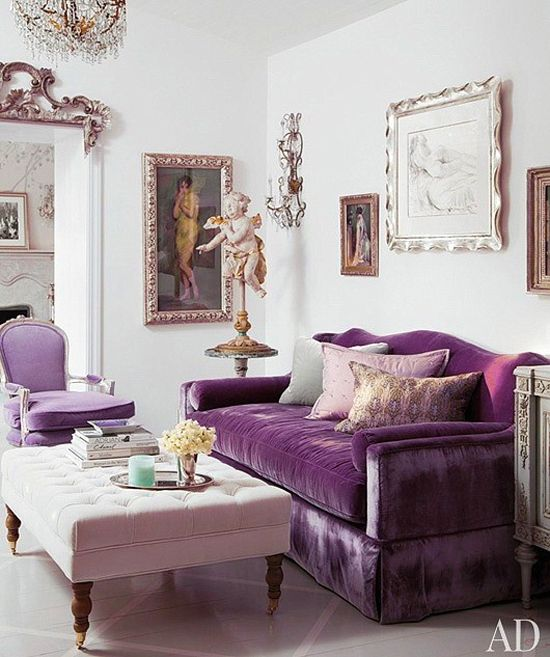 Adorable Living Room Inspiration With One Purple Fabric Sofa Feat Pillows  Near White Fabric Ottoman Coffee Table On The Accessories And White Wall  Paint ...
