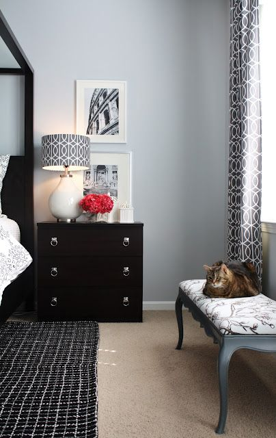 Ikea Malm chest (in gray-brown though) with modern pulls for Michael's nightstand