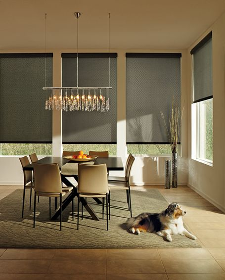 Just waiting for the guests to arrive! Hunter Douglas Designer Roller Shades ♦ Hunter Douglas window treatments #DiningRoom