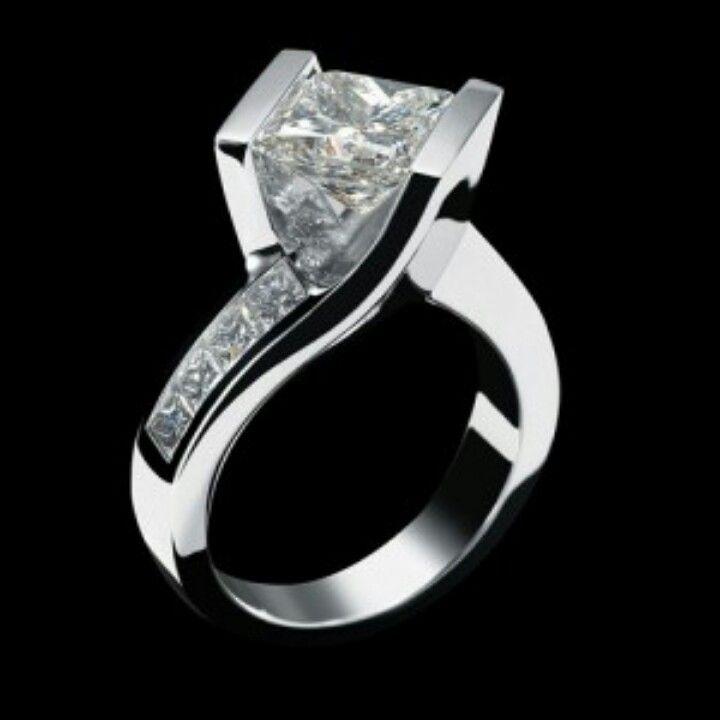 Tension set princess cut engagement ring