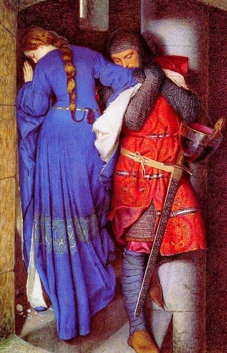 Pre Raphaelite Art: Meeting on the Turret Stairs, watercolor by Frederick William Burton
