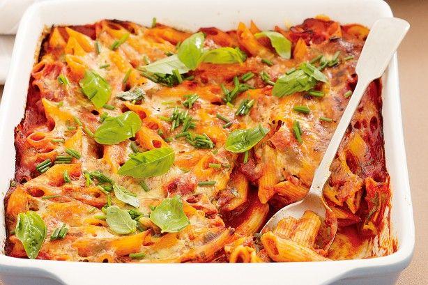 One-dish Salami Pasta Bake Recipe