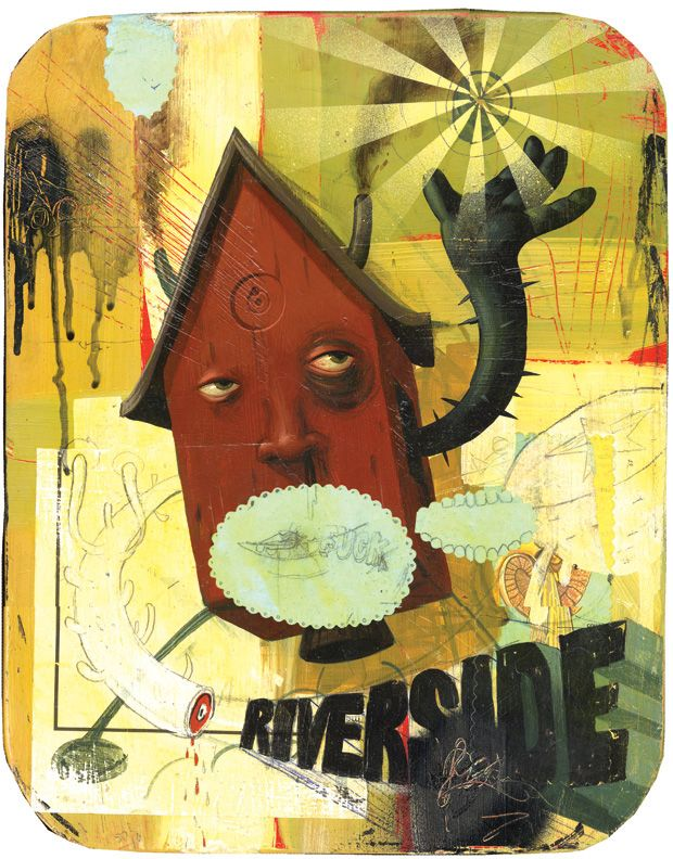 """Jeff Soto, """"Riverside House,"""" acrylic, spray paint and collage on canvas, 2003"""