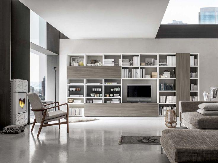 Contenitori, nicchia porta tv, libreria, tutti insieme: è il sistema Integra di mobilificio Santa Lucia.