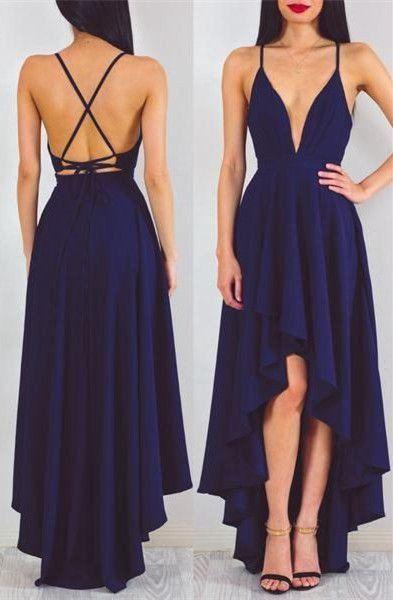 Sexy A-line Deep V-neck High Low Dark Navy Blue Chiffon Prom Dress Evening Dress