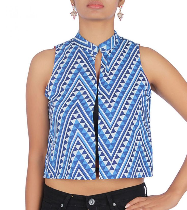 Indigo #Cotton #Printed #Jacket by #Desi #Weaves at #Indianroots