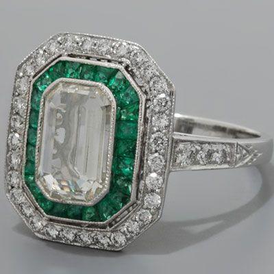 Art Deco Engagement Ring Diamonds & Emeralds Platinum Antique Style, 1920's