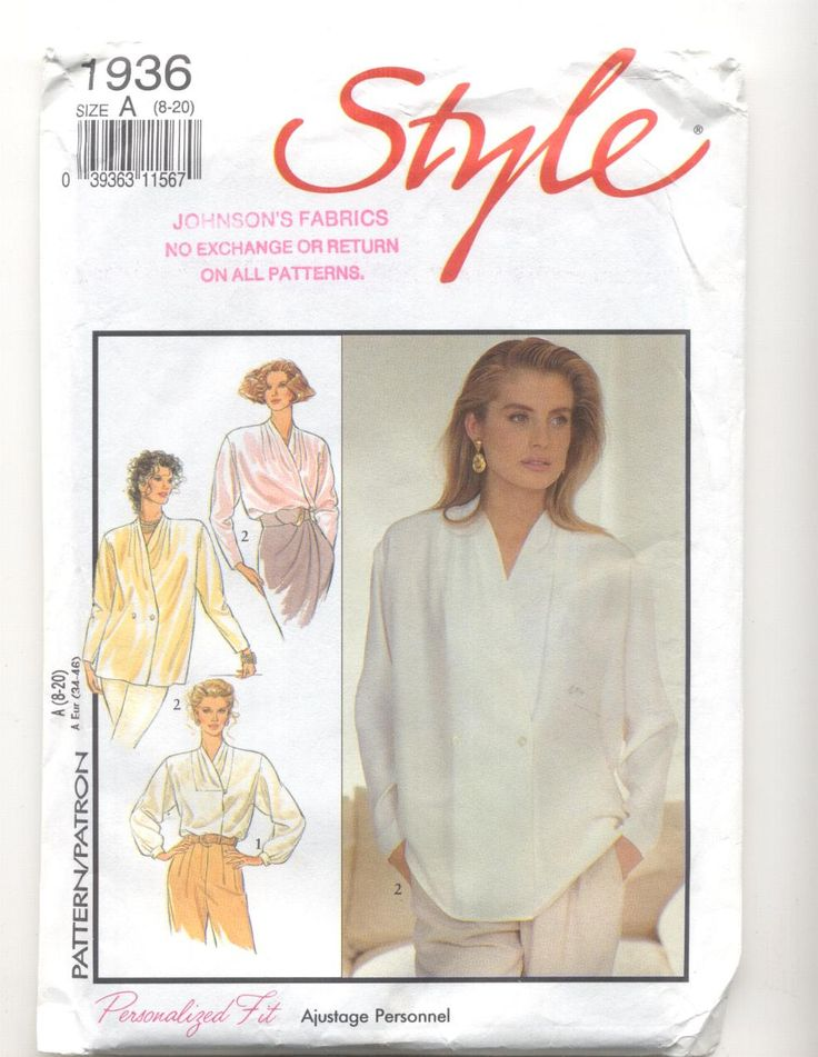 Style 1936 Misses Blouses sizes 8-20 Vintage Sewing Pattern by KnitsanStitches on Etsy