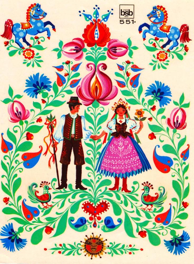 ~Vintage folklore prent met bloemen~