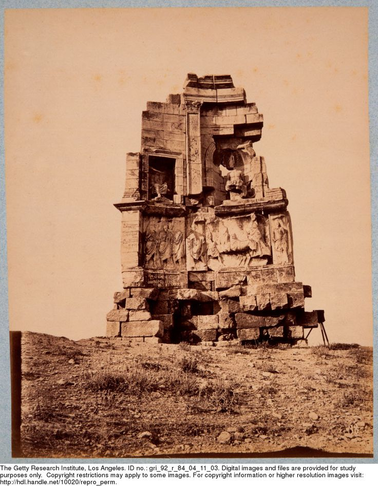 [Monument of Philopappos, Athens], [1880] Athanasiou, Konstantinos (fl. 1875-1905), photographer. View from the northeast of the facade of the sepulchral monument of Philopappos, Athens. A camera on a tripod appears to the right of the tomb. Gary Edwards collection of photographs of Greece