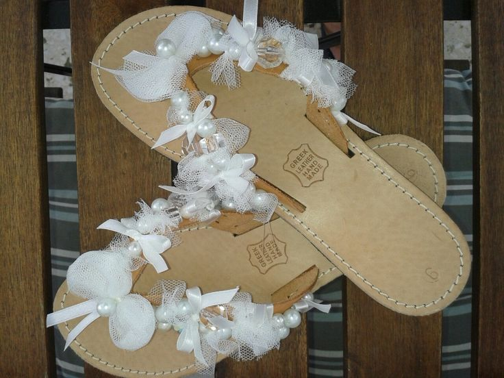 DIY hamdmade leather sandals for bride. Nice gift for bachelorette party