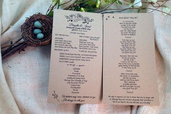 Whimsical Rustic Kraft Wedding Program 5.5 x by nestingprojectwed, $35.00