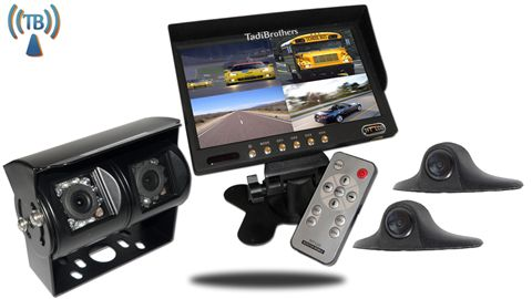 Ultimate 9-Inch split screen monitor, Wireless RV Backup Camera System with Double CCD RV Camera and 2 small side cameras