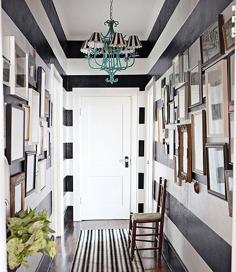 striped wall with frames