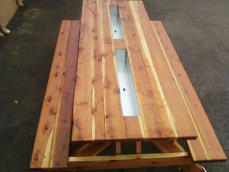 8ft Redwood Oversized Picnic Table With Attached Benches