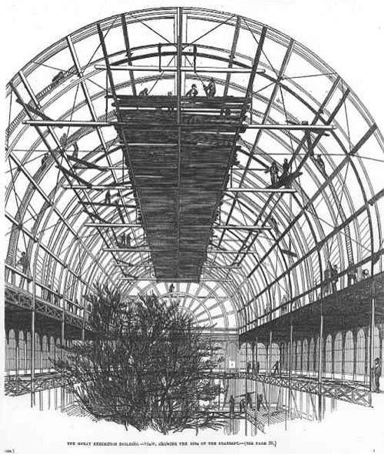 Constructing the Crystal Palace - Ribs of the Transept, 1851, Crystal Palace, The Illustrated London News.  Image scan and text by Philip V. Allingham.