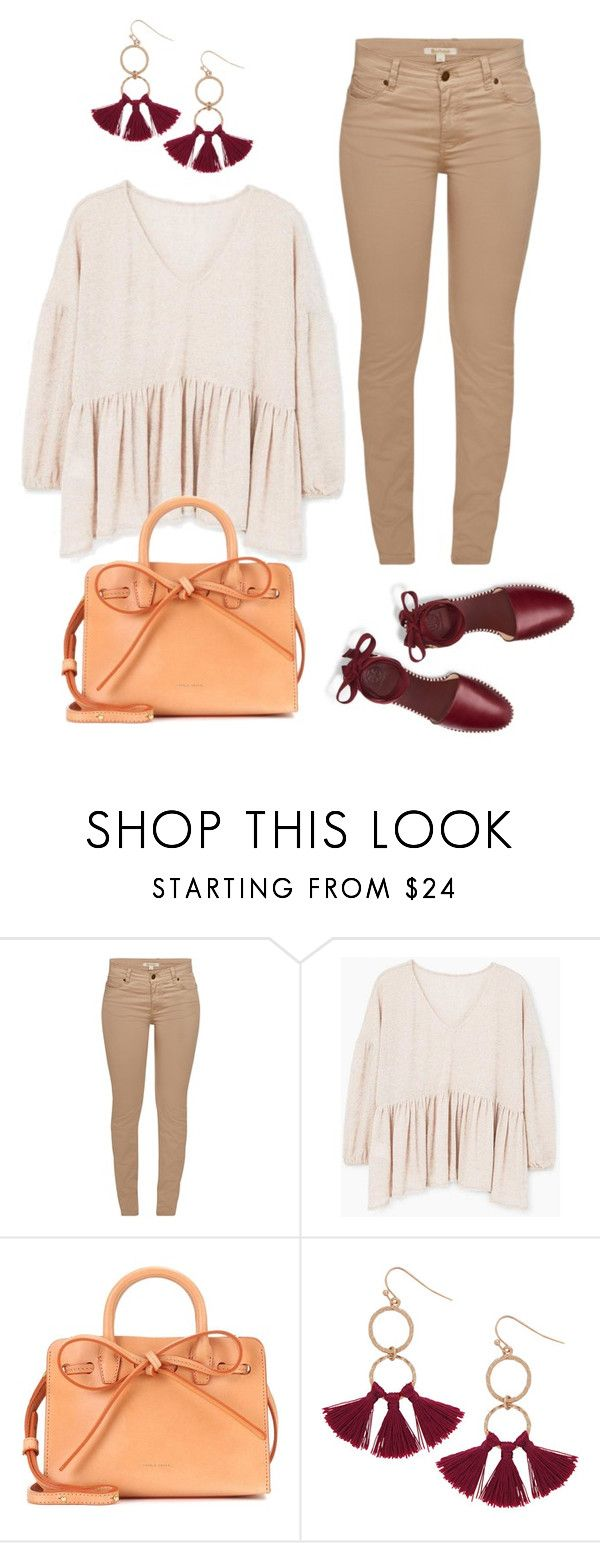 """коричневые джинсы"" by anjasha ❤ liked on Polyvore featuring Barbour, MANGO, Mansur Gavriel, Humble Chic and Tory Burch"