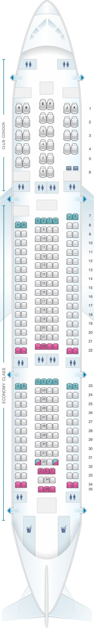 Seat Map Aerolineas Argentinas Airbus A340 200