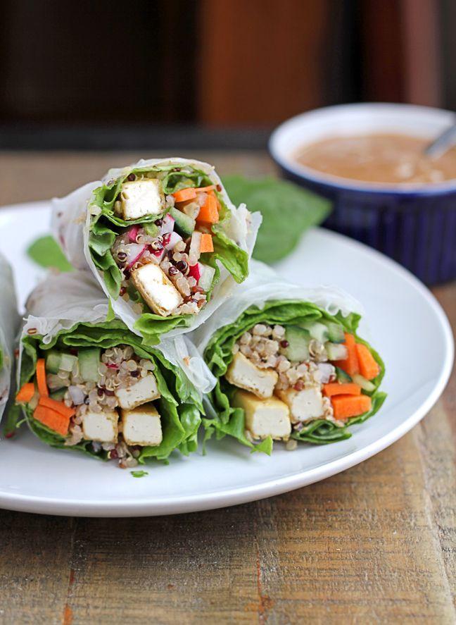 Tofu quinoa fresh rolls with peanut dipping sauce