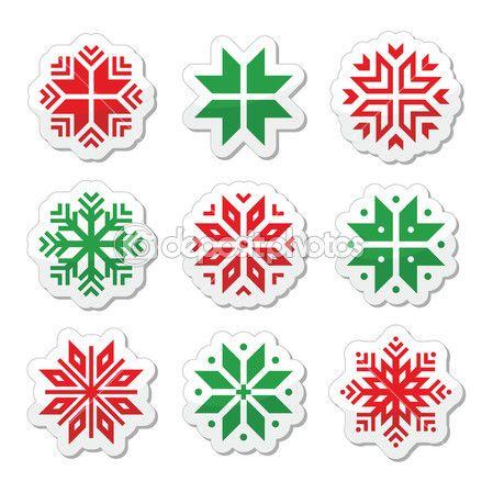 Boże Narodzenie, zima płatki śniegu wektor zestaw ikon — Ilustracja stockowa #36180407