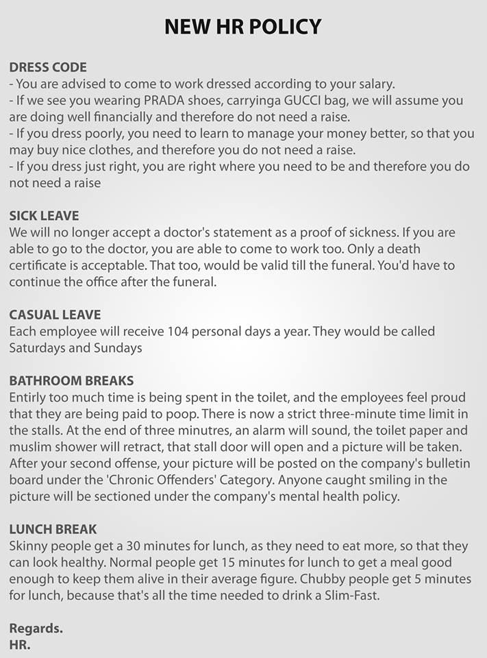 new hr policy    fun to read