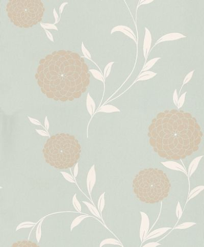 Erin Duck Egg (3308219) - Laura Ashley Wallpapers - A dainty floral design of contemporary circular blossoms in a metallic silver with a cream stem-trail on a duck-egg blue background. For a modern feel of stylish simplicity. Please request a sample for true colour match.