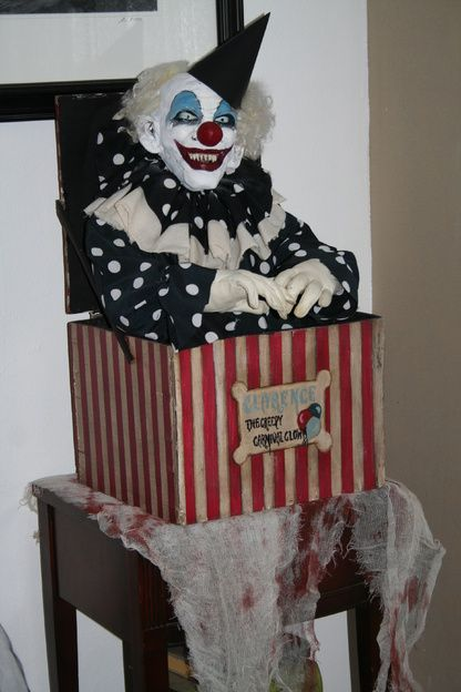 carnevil prop idea use one of my many clown masks and a large box yes - Clown Halloween Decorations