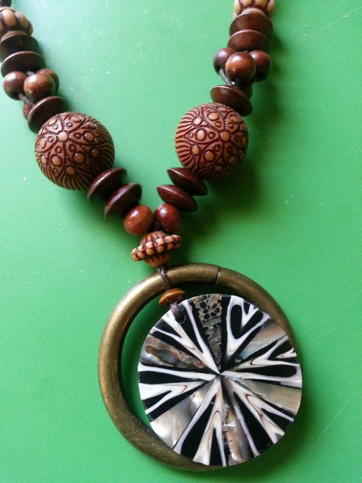 Bali Shell Pendant Necklace on Brown Leather Cord