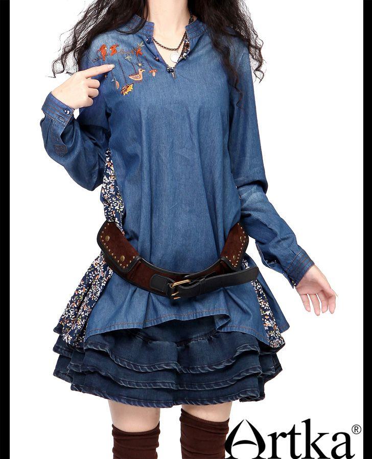 Туники : Свободная туника-рубашка с вышивкой, присборенная сзади