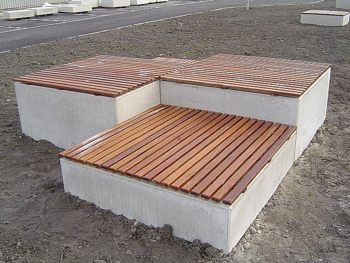 Betonnen Zitelementen Tuin : Groundlevel betonnen zitelement asch ii met hout beton