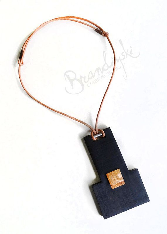 Wooden Pendant - ebony, oak and leather