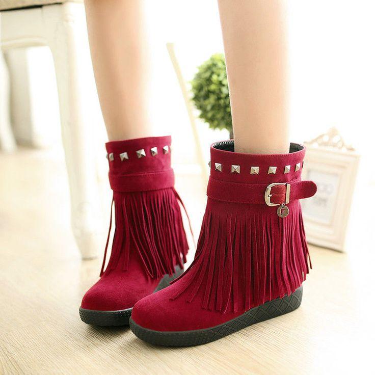 Womens Tassel Fringe Faux Suede Comfort Bohemia Shoes Rivet Low Heel Ankle Boots