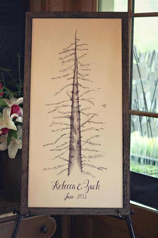 Shannon Berrey Design: Instead of the traditional guest book, have each guest sign a branch of the bare pine tree.