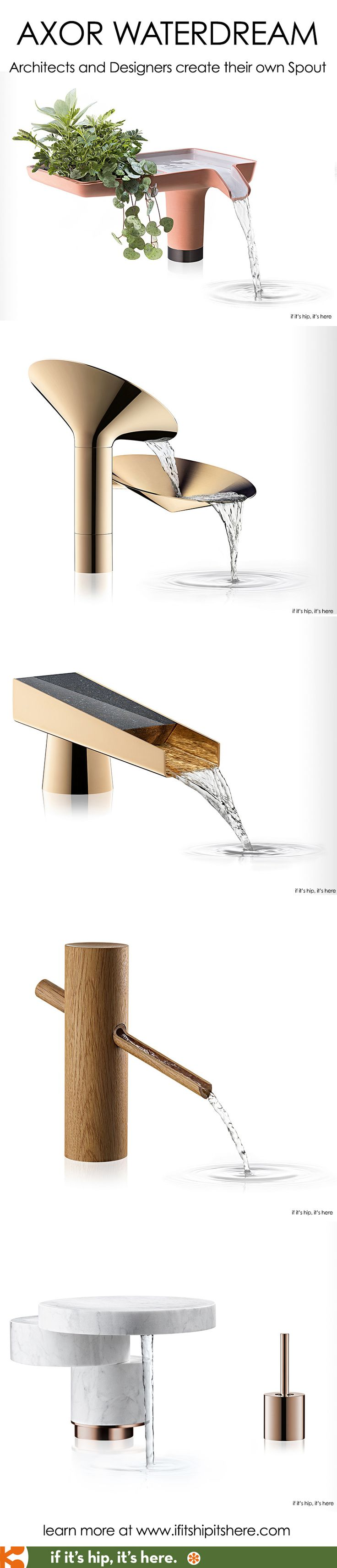 Axor enlisted architects and designers to create their own water taps for WaterDream 2016.