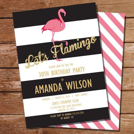 Pink Flamingo Invitation Pool by SunshineParties on #Etsy....So pretty! #PinkFlamingoPoolParty #PoolPinkFlamingo