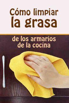 Cómo limpiar la grasa de los armarios de la cocina #grasa #armarios #cocina #eliminar #limpiar #limpiador #DIY