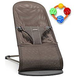 Baby Bjorn Bliss Bouncer - Cocoa Mesh with Click Clack Balls Teether