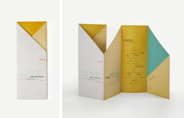What catches my eye of this brochure is when it is all folded. The folds and the shape that the brochure makes creates an interesting composition. The colors mesh well and it makes me want to pick it up.
