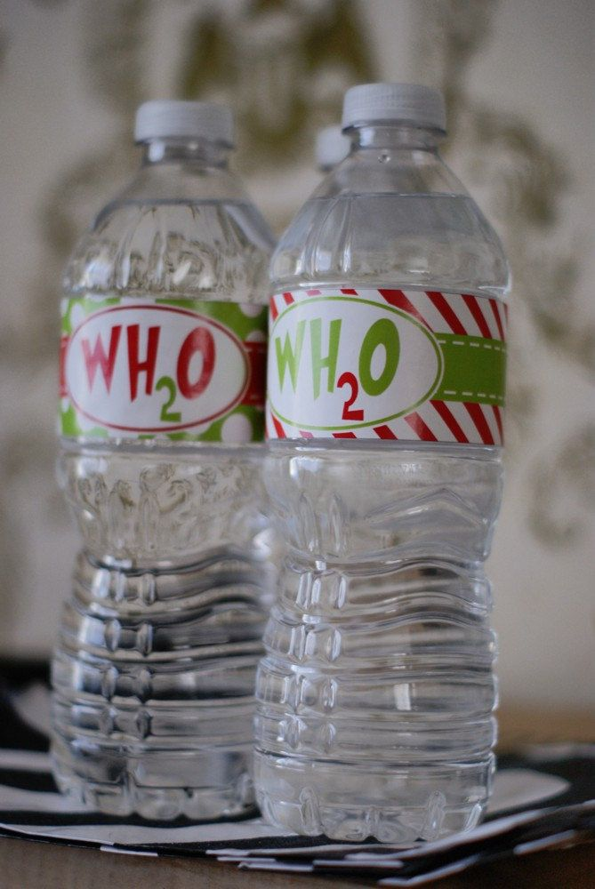The Grinch Who Stole Christmas party accessories, this one for your water bottles. Fun & festive! From Etsy. #thegrinch  $16.15 for 25.