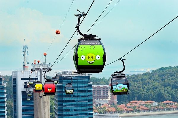 Singapore Cable Car - Angry Birds Cabins