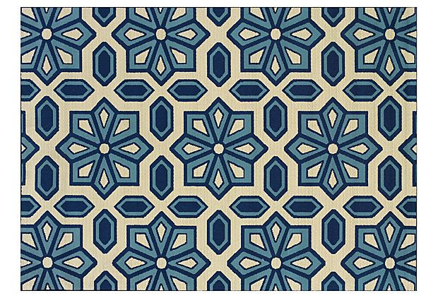 Puna Outdoor Rug, Ivory/Blue on OneKingsLane.com
