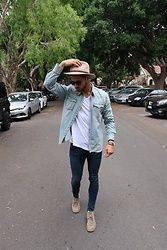 Henry & William Wade - Levi's® Denim Shirt, Zara V Neck Regular Fit T Shirt, Zara Skinny Jeans, Clarks Clark Suede Boots, Brixton Fedora Hat, Dior Homme Sun Glasses - Double Denim