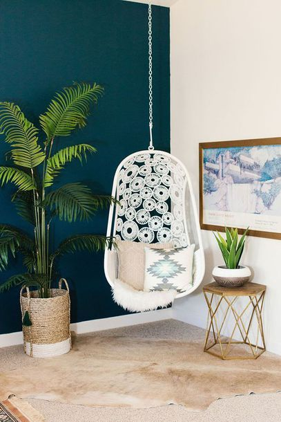 Home accessory: tumblr home decor furniture home furniture chair hanging chair plants pillow