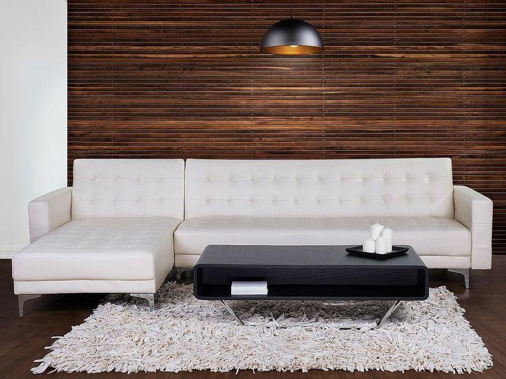 Corner Sleeper Sofa - Faux Leather - ABERDEEN - Cream | Follow Beliani UK for more design inspirations! #bedsofa #convertiblebed