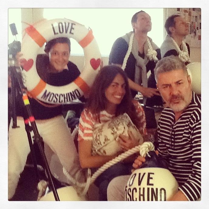 Beautiful Viviana Volpicella with Marta Donadi,Stefano Galuzzi and Luca Lazzaro at Moschino