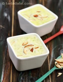 When sautéed in ghee, bottle gourd sheds its raw smell and takes on a rather rich aroma, which fits perfectly into a milky kheer. The addition of milk powder helps to bring about a luxuriant feel to the milk without requiring to boil it for a long time, while cardamom powder and almond garnish add to the opulence. This Doodhi Kheer is indeed a delight to the palate! Nevertheless, it is also a pleasure to prepare as it is conveniently ready in less than 10 minutes!
