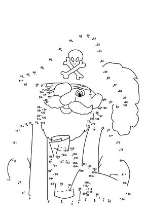 Click to see printable version of Pirate dot to dot