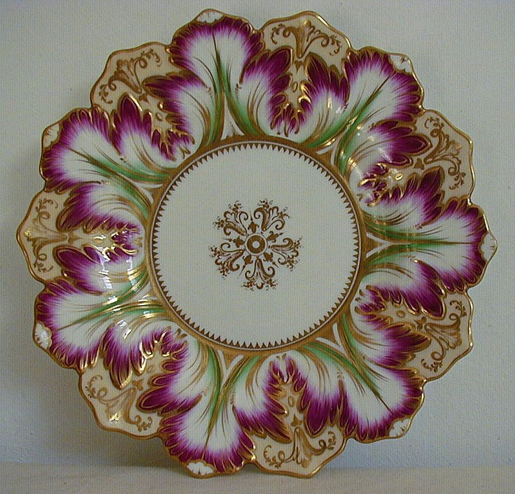 Antique Ridgway Gilded Tulip Petal Plate c1850 - For sale on Ruby Lane at Beauty of Ceramics $585.00