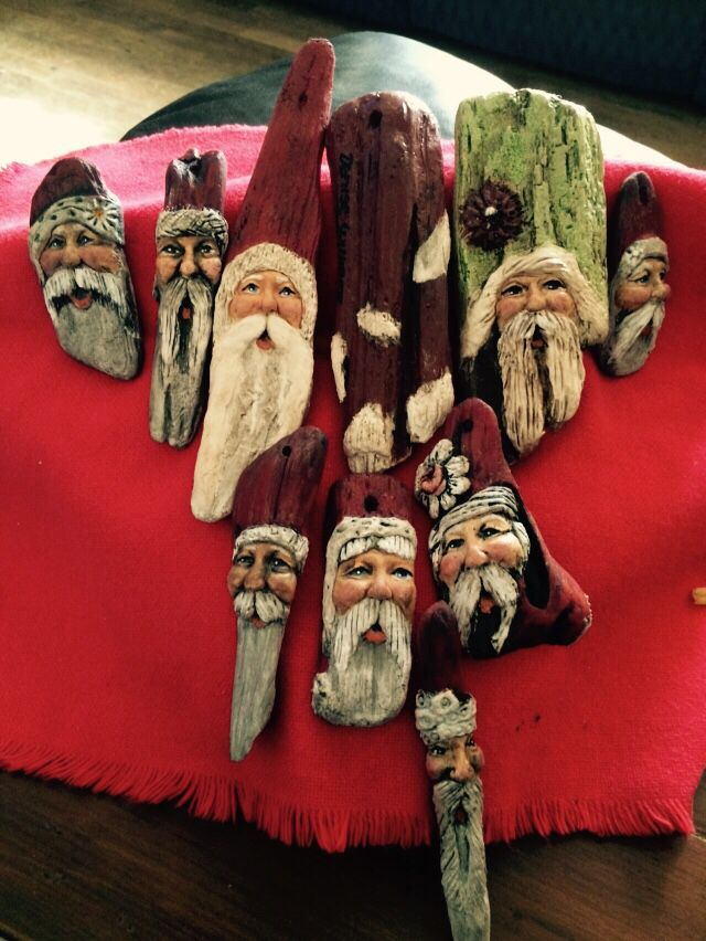 several of my 2015 oyster Shell Santa's!! See more at VillageCrafts-DeniseWilliams on FaceBook!  Like and share my work!!
