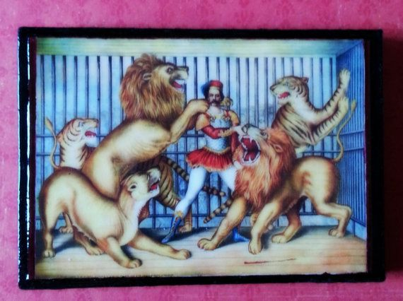 The Lion Tamer Refrigerator Magnet Art Vintage by AlphachicsEDEN, $10.00